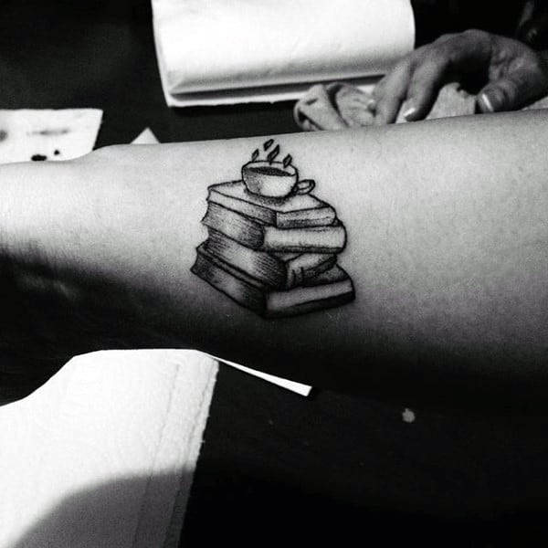 Male Tiny Cup Over Books Tattoo On Forearms