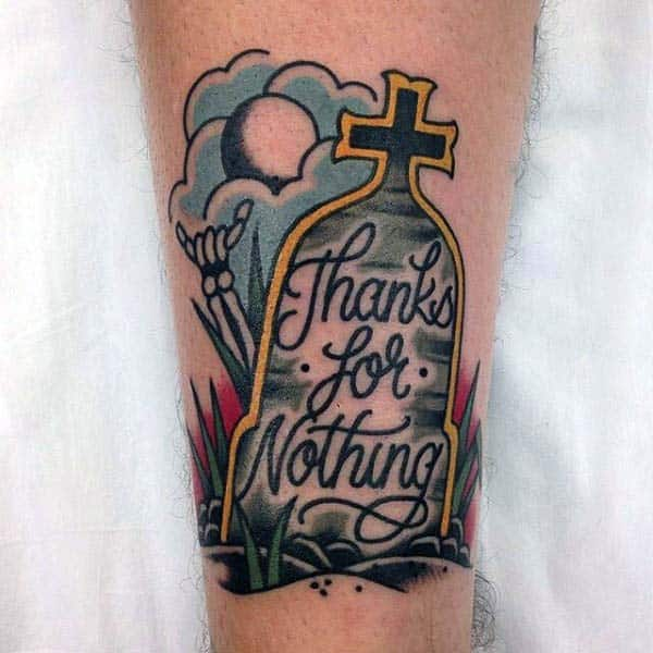 Male Tombstone Thanks For Nothing Old School Tattoo