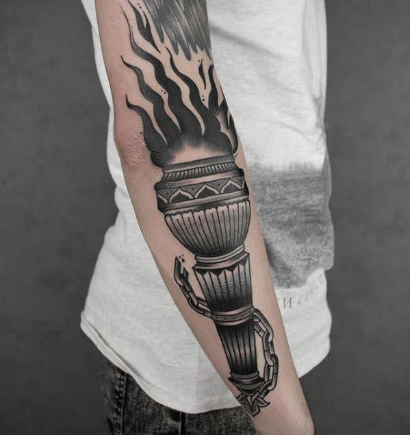 Male Torch Tattoo Design Inspiration