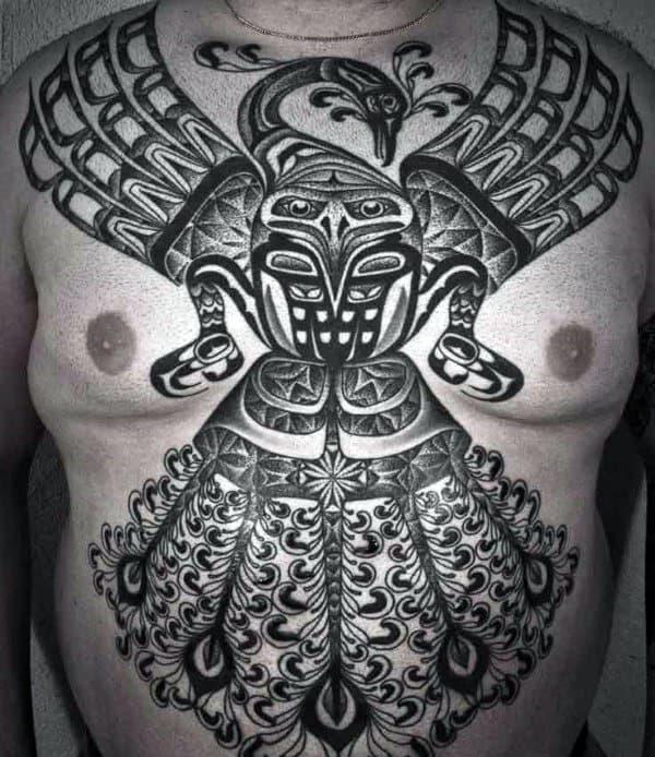 Male Torso Amazingly Beautiful Haida Tattoo