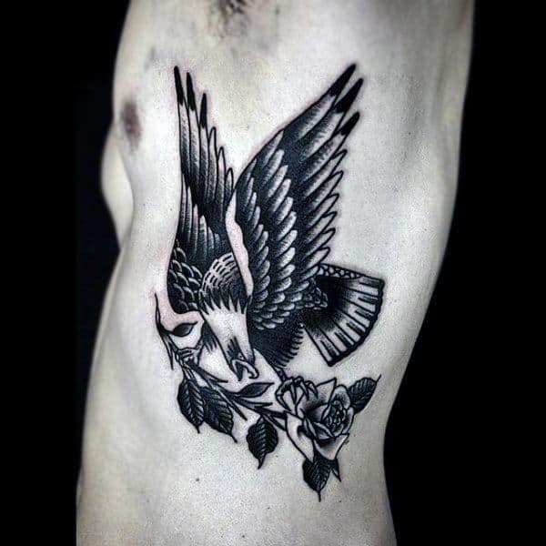 Male Torso Bald Eagle And Rose Tattoo