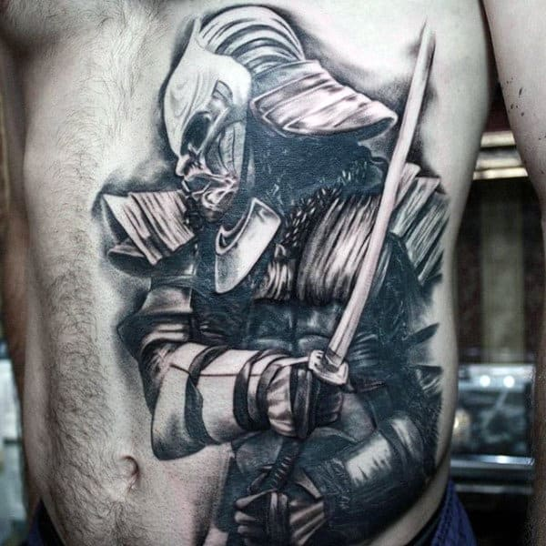 Male Torso Black And Grey Viking Tattoo