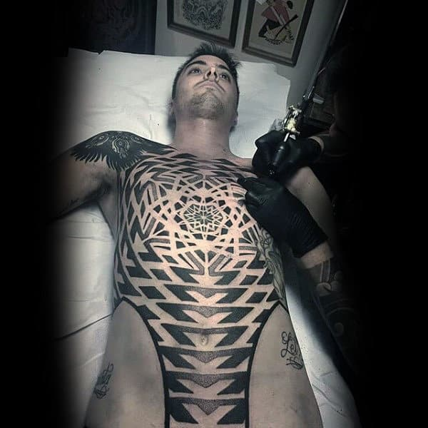 Male Torso Black And White Sick Tattoo Ideas