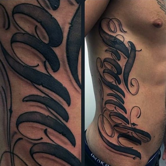 Male Torso Family Lettering Tattoo
