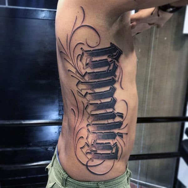 Male Torso Graphical Black Font Family Tattoo