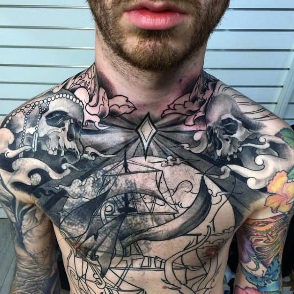 Male Torso Interesting Gray Tattoo