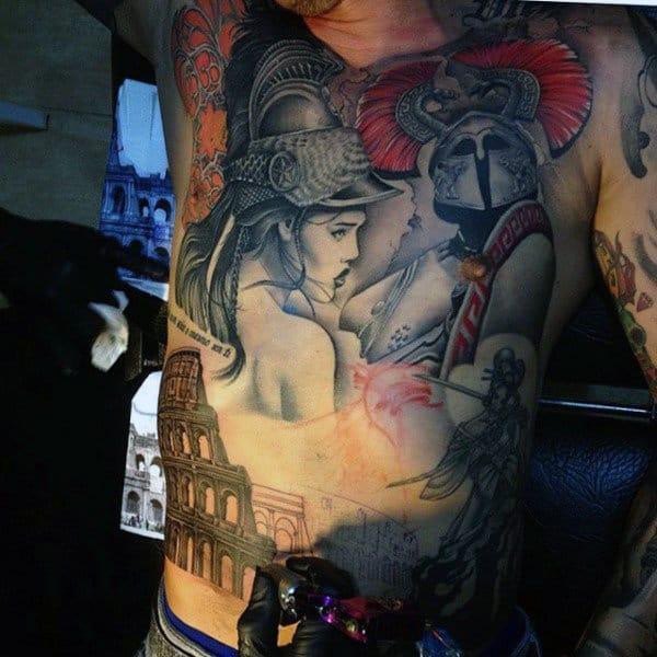 Male Torso Interesting Roman Tattoo