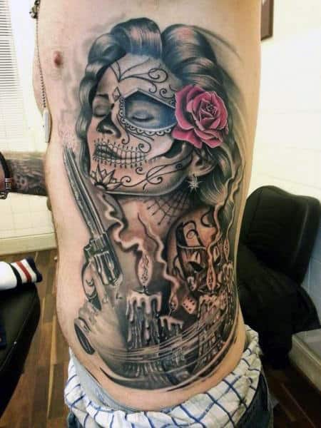 Male Torso Sexy Lady With Pistol And Rose Day Of The Dead Tattoo