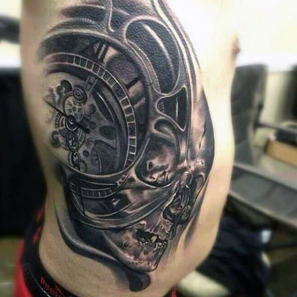 Male Torso Skull Steampunk Tattoo