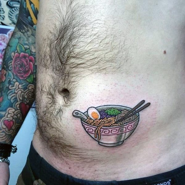 Male Torso Tiny Food And Chopsticks Tattoo