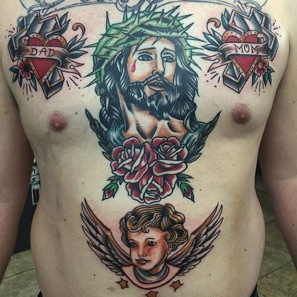 Male Traditional Cross Tattoo Design Inspiration