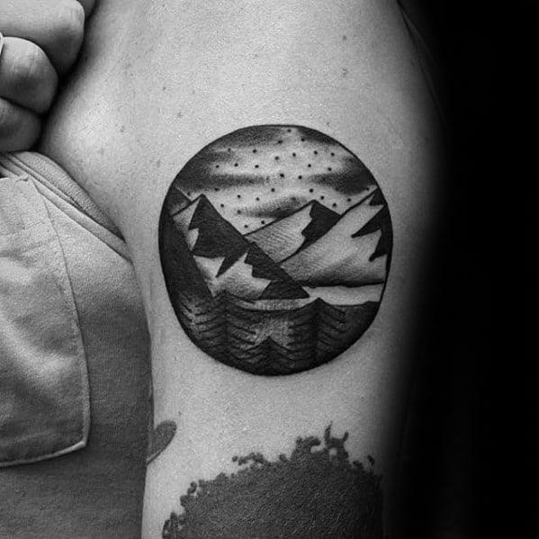 Male Traditional Mountain Tattoo Design Inspiration