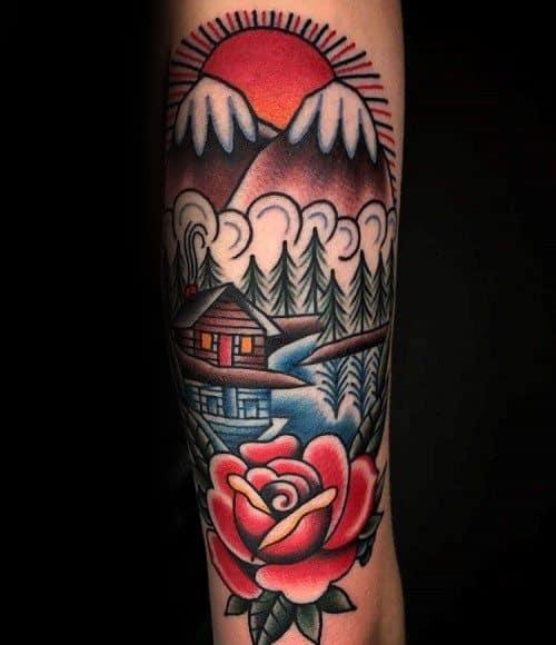 Male Traditional Mountain Tattoo Ideas