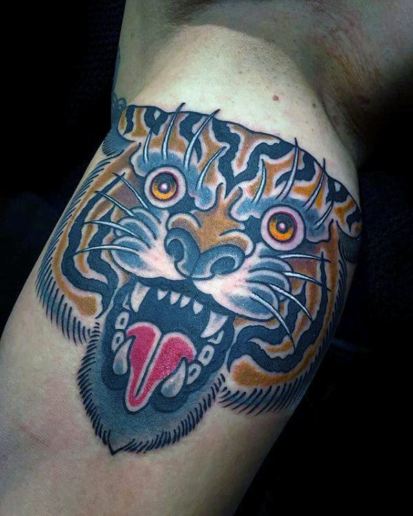 Male Traditional Old School Tiger Inner Arm Bicep Tattoos
