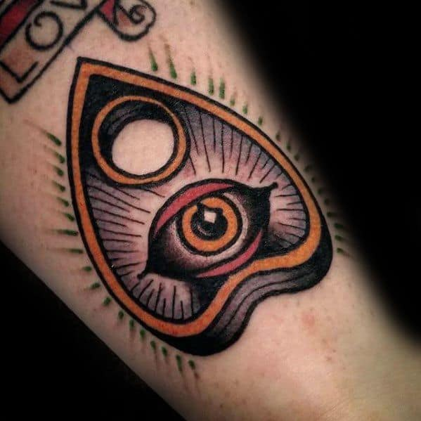 Male Traditional Tattoo With Planchette And Eye Design