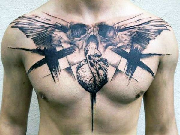 Male Trash Polka Tattoo On Chest With Skulls