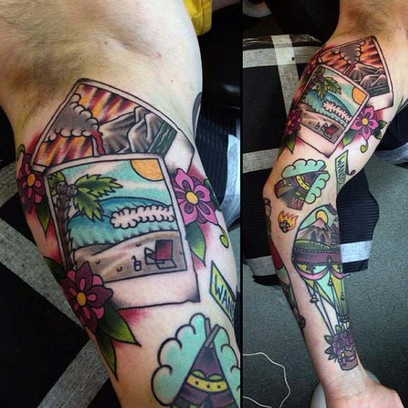 Male Travel Tattoos Full Arm Sleeve With Photographs