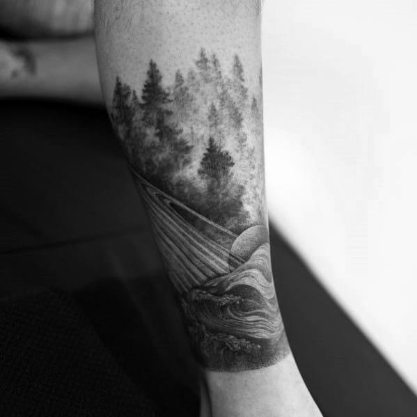 Male Tree Leg Themed Tattoos