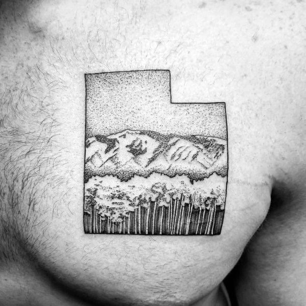 Male Tree Line Themed Chest Tattoos