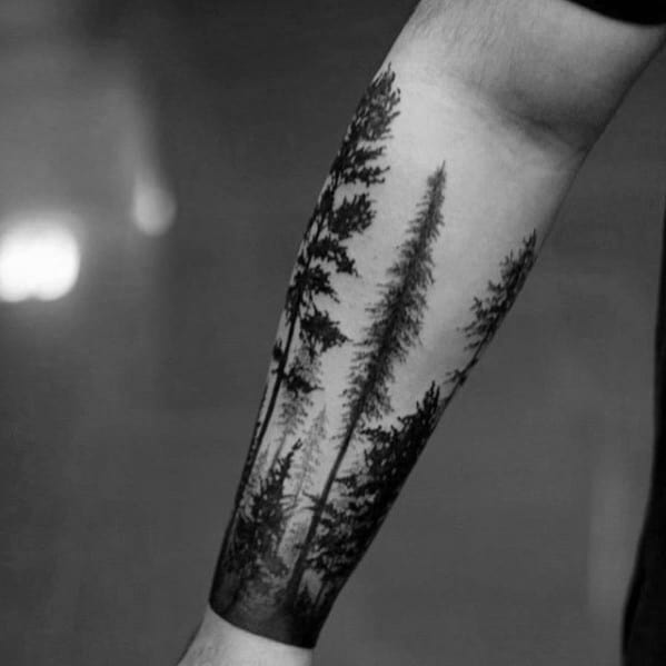 Male Tree Line Themed Tattoo Inspiration