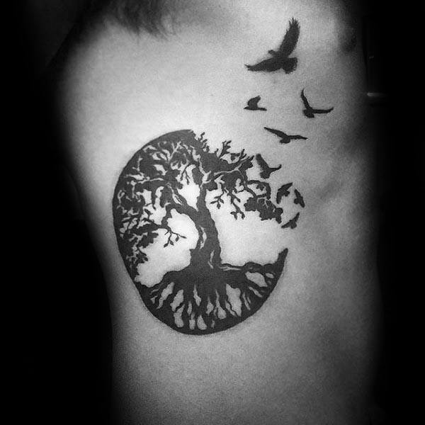 Male Tree Of Life Rib Cage Side Black Ink Birds Tattoo Designs