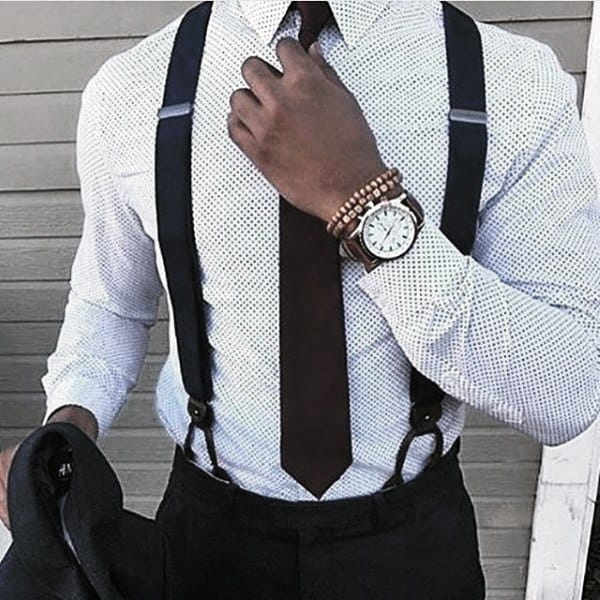 Male Trendy Outfits Style White Dot Dress Shirt With Suspenders