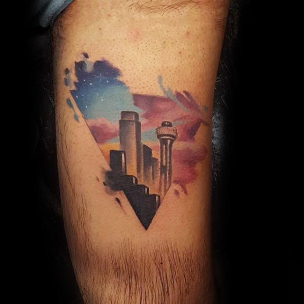 Male Triangle Watercolor Dallas Skyline Tattoo Design Inspiration