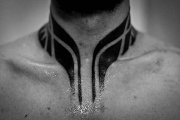 Male Tribal Blackwork Neck Tattoo Design Inspiration