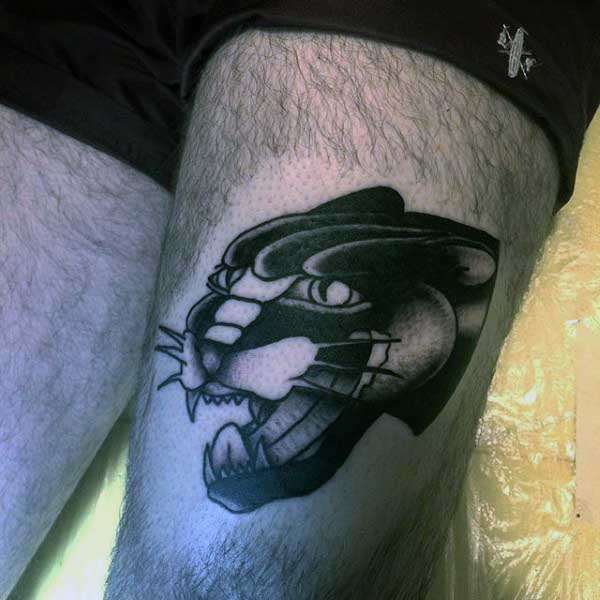Male Tribal Panther Tattoos On Thigh