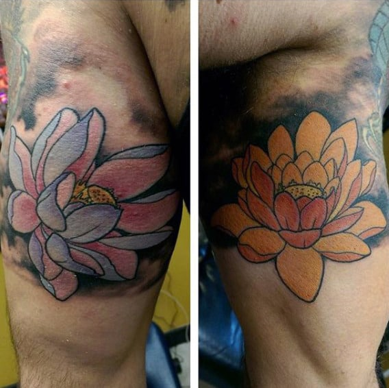 Male Triceps Blooming Lotus Flower Tattoo
