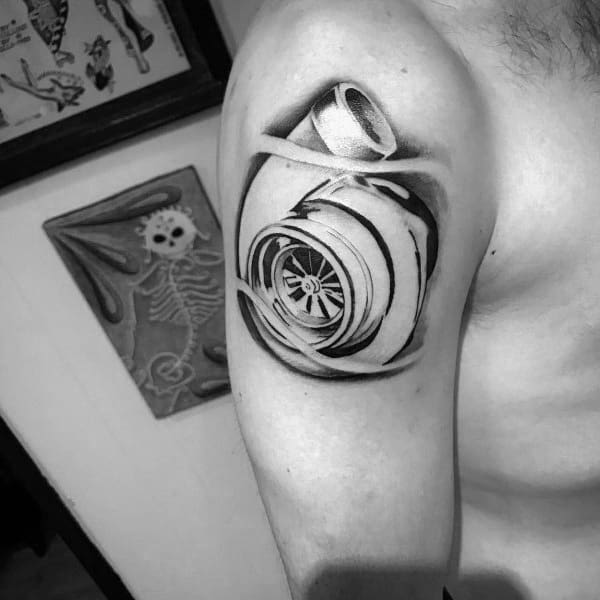 Male Turbo Themed Tattoo Inspiration