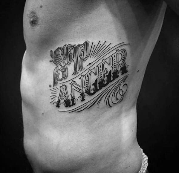 Male Typography Tattoo Ideas Rib Cage Side