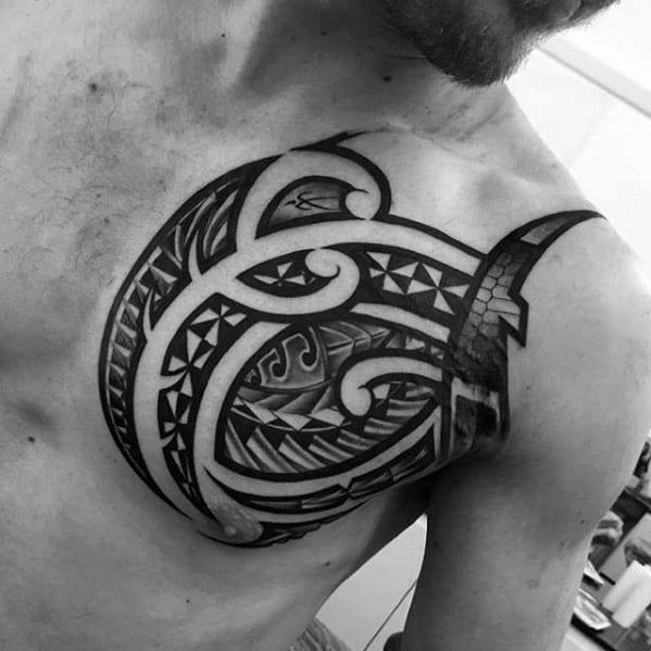 Male Unique Chest Polynesian Tribal Tattoo