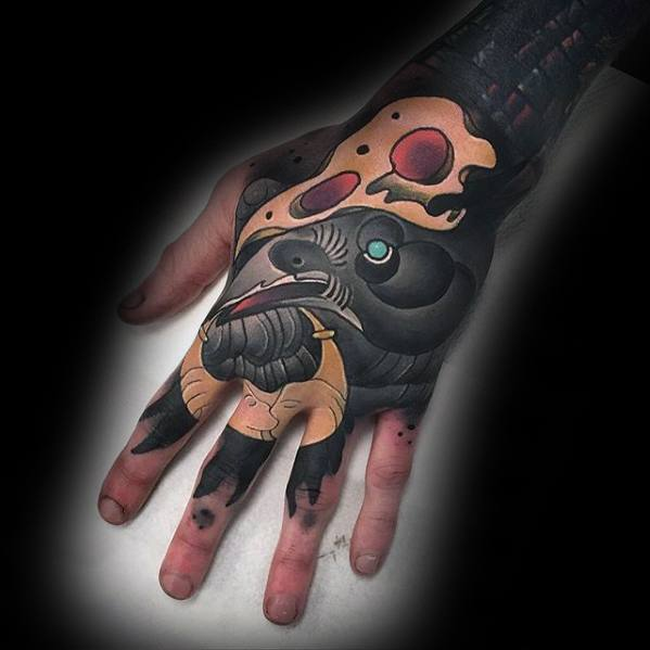 Male Unique Hand Neo Traditional Black Crow Tattoo