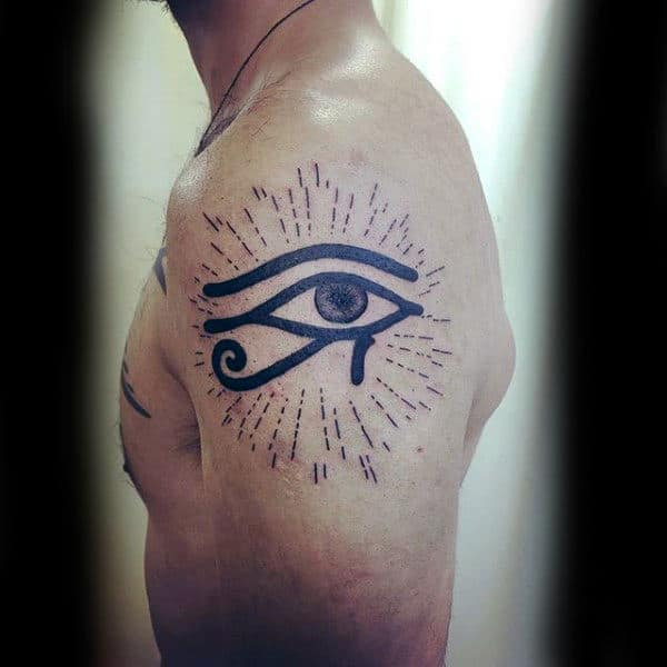 Male Upper Arm Eye Of Horus Tattoo With Sun Rays
