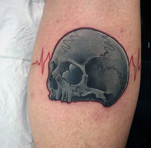 Male Upper Arm Grey Skull And Red Heartbeat Tattoo