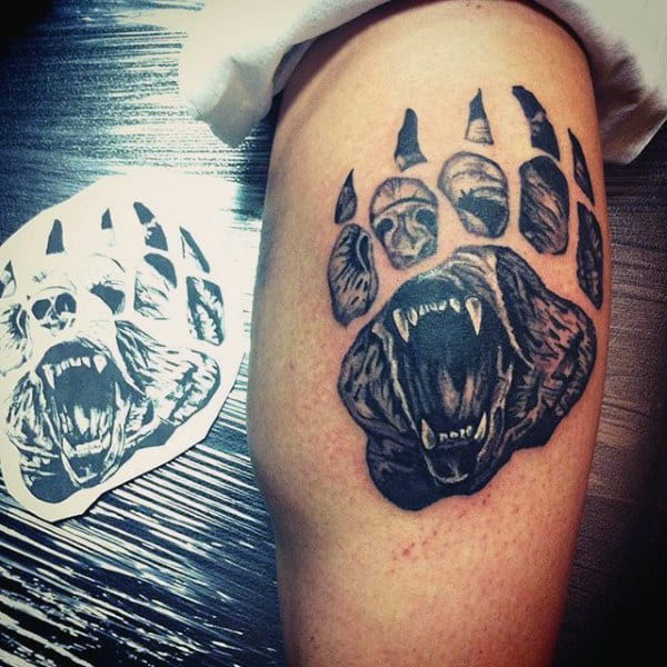 Male Upper Arm Interesting Tattoo Of Wild Beast Paw