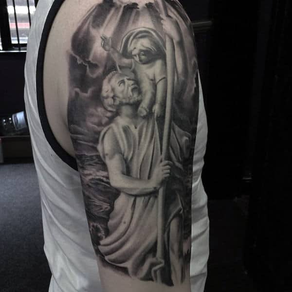 Male Upper Arms Black And Grey Angelic Heavenly Being Tattoo