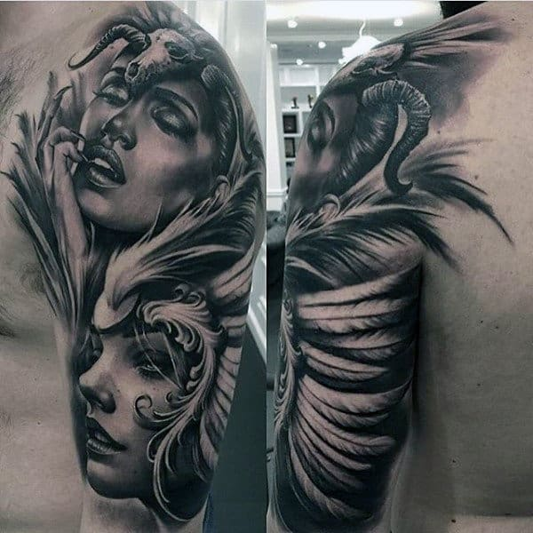Male Upper Arms Black And Grey Sensual Tattoo