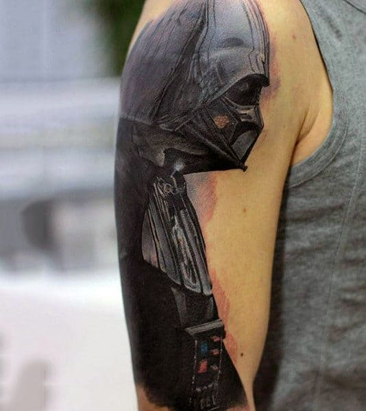 Male Upper Arms Darth Vader Black Tattoo