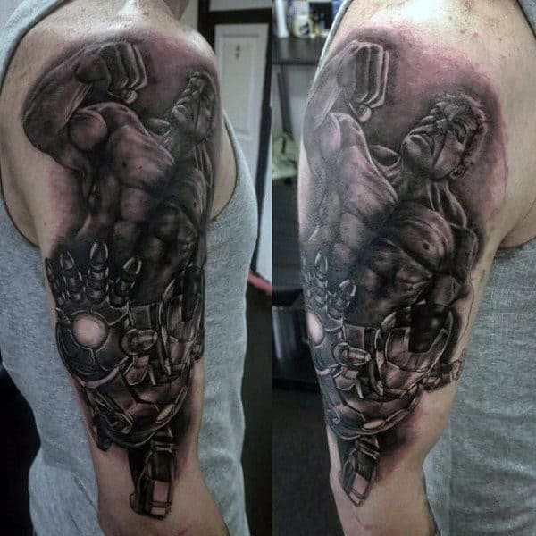 Male Upper Arms Grey Hulk Tattoo