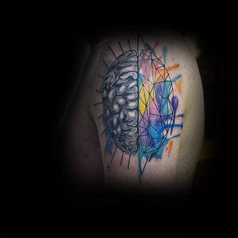 Male Upper Arms Modern Colored Art Brain Tattoo