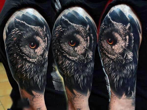 Male Upper Arms Realistic Owl Tattoo