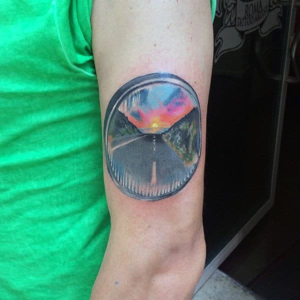 Male Upperarm Colorful Sunset Tattoo