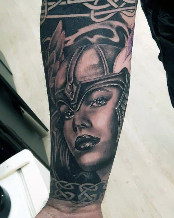 Male Valkyrie Forearm Sleeve Tattoo Ideas