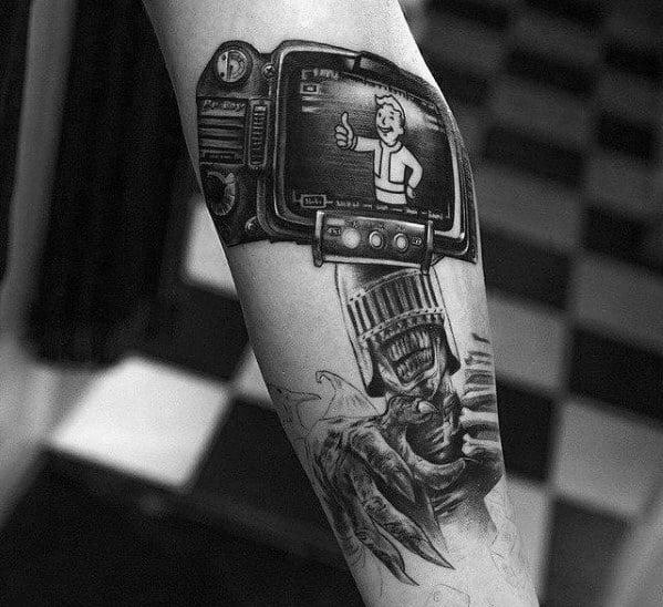 Male Vault Boy Tattoo Design Inspiration