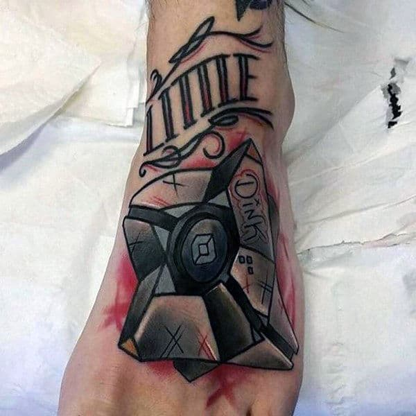 Male Video Game Dinklebot Foot Tattoos