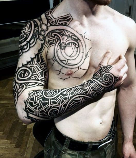Male Viking Dragon Tattoos Sleeve Tribal