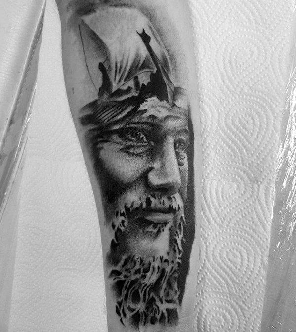 Male Viking Ship Shaded Forearm Ragnar Tattoo Ideas