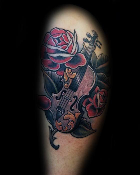 50 violin tattoo designs for men music instrument ink ideas. Black Bedroom Furniture Sets. Home Design Ideas